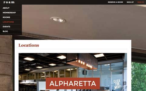 Screenshot of Locations Page meetatroam.com - Locations - captured Oct. 7, 2014