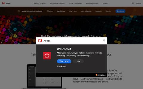 Screenshot of Pricing Page adobe.com - Adobe Experience Manager cost, pricing | How to buy and get started - captured July 5, 2018