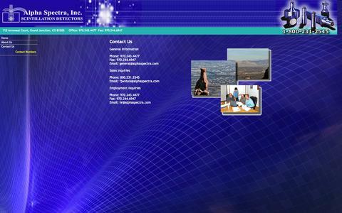 Screenshot of Contact Page alphaspectra.com - Contact Us - captured Oct. 4, 2014