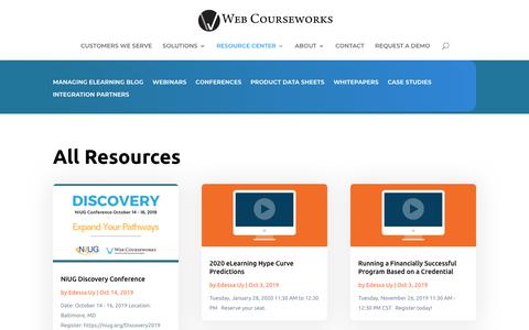 Screenshot of Case Studies Page webcourseworks.com - All Resources - Web Courseworks - captured Nov. 20, 2019
