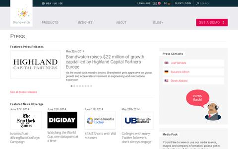 Screenshot of Press Page brandwatch.com - Press | BrandwatchBrandwatch - captured July 21, 2014