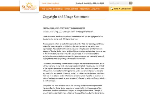 Screenshot of Terms Page sunriseseniorliving.com - Terms And Conditions | Sunrise Senior Living - captured Oct. 28, 2016