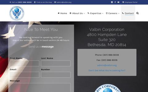 Screenshot of Contact Page valbin.org - Contact - Valbin Corporation - captured March 17, 2019