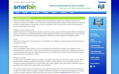 Screenshot of Terms Page smartbin.com - Terms & Conditions - captured Sept. 30, 2014