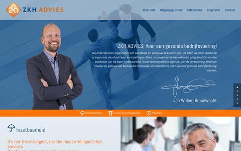 Screenshot of Home Page zkhadvies.nl - ZKH ADVIES - Jan Willem Brandwacht - captured Feb. 28, 2016