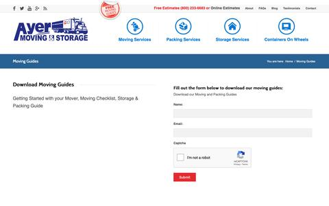 Screenshot of Signup Page ayermoving.com - Moving Guides - Ayer Moving & Storage, Ayer MA - captured Dec. 18, 2018