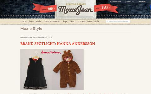 Screenshot of Blog moxiejean.com - Baby and Kids Consignment news | Moxie Jean: Upscale Resale - captured Sept. 16, 2014