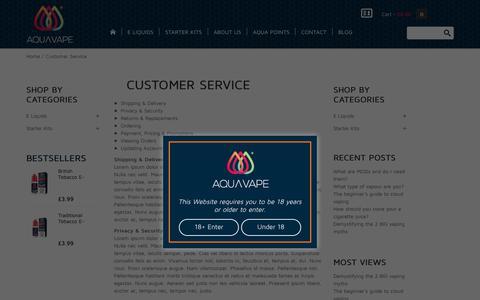 Screenshot of Support Page aqli.co.uk - Customer Service - captured June 25, 2017