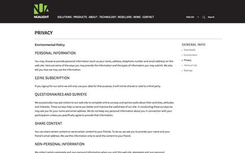 Screenshot of Privacy Page nualight.com - Nualight - Privacy - captured July 3, 2015