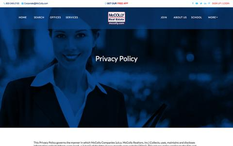 Screenshot of Privacy Page mccolly.com - Privacy Policy | McColly Real Estate | McColly Real Estate - captured Sept. 24, 2018