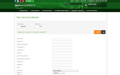 Screenshot of Login Page spyequipmentuk.co.uk - Your account details - captured Sept. 19, 2014