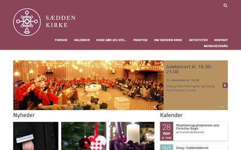 Screenshot of Home Page saeddenkirke.dk - Sædden Kirke - captured Nov. 28, 2018