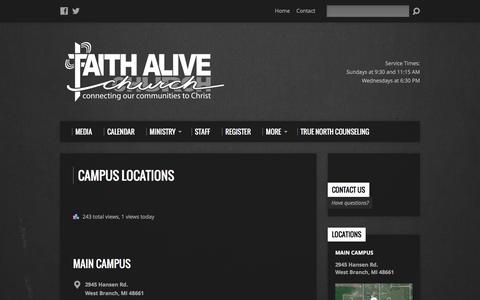 Screenshot of Locations Page faithaliveconnection.org - Campus Locations – FaithAliveConnection.org - captured Feb. 9, 2016
