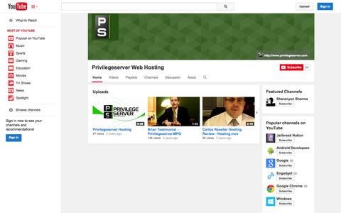 Screenshot of YouTube Page youtube.com - Privilegeserver Web Hosting  - YouTube - captured Oct. 22, 2014