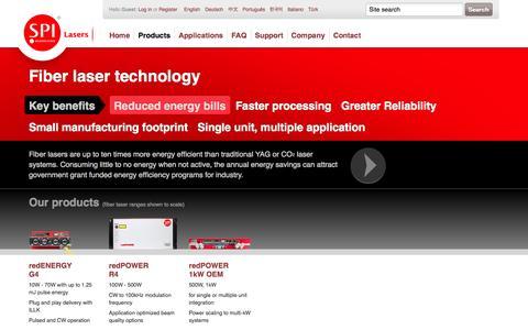 Screenshot of Products Page spilasers.com - SPI Lasers | Fiber Lasers Product Range - captured Sept. 17, 2014