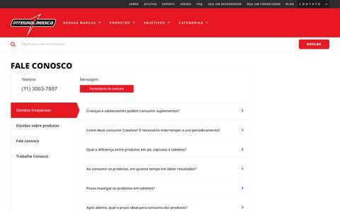 Screenshot of FAQ Page integralmedica.com.br - Fale Conosco | Integralmédica - captured Oct. 15, 2017