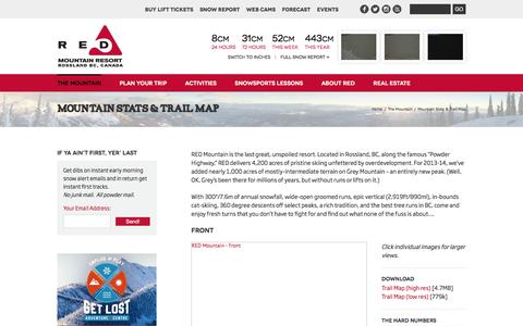 Screenshot of Maps & Directions Page redresort.com - Mountain Stats & Trail Map | RED Mountain Resort - captured Jan. 21, 2016