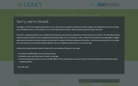 Screenshot of Login Page leaky.com - Leaky: Compare car insurance the easy way. - captured July 19, 2014