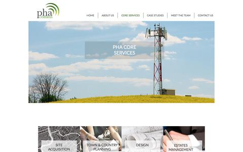 Screenshot of Services Page phacomms.com - Core Services | PHA Communications Ltd | Communications Site Deploymen - captured July 12, 2017