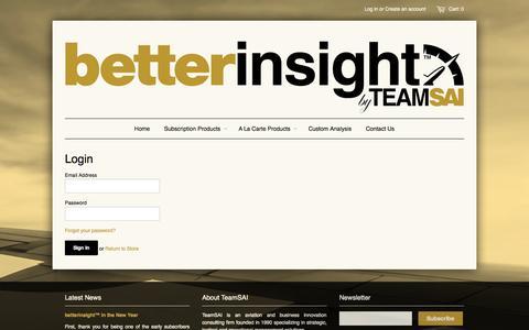 Screenshot of Login Page betterinsight.aero - Account – betterinsight™ by TeamSAI - captured Oct. 5, 2014