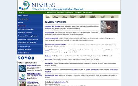 Screenshot of Press Page nimbios.org - NIMBioS Newsroom - captured Feb. 16, 2016