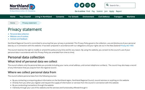 Screenshot of Privacy Page nrc.govt.nz - Privacy statement - Northland Regional Council - captured Oct. 18, 2018