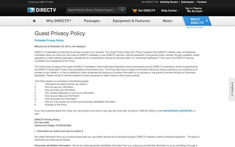 Screenshot of Privacy Page directv.com - Privacy Policy - captured Sept. 19, 2014