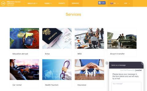 Screenshot of Services Page millenniumtour.az - Services - captured Nov. 7, 2018