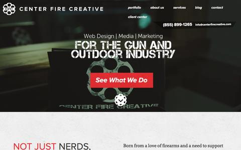 Screenshot of Home Page centerfirecreative.com - Professional Services for the Gun Industry - Centerfire Creative - captured May 15, 2017