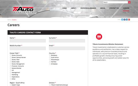 Screenshot of Jobs Page tiauto.co.za - Career Enquiries   TiAuto Investments - captured Dec. 1, 2016