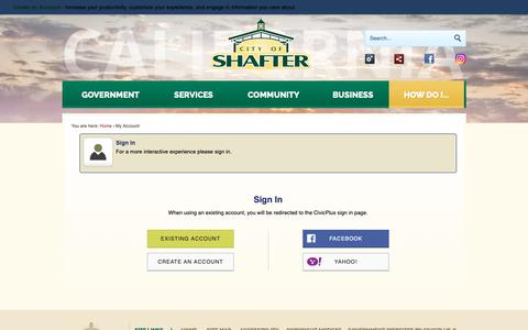 Screenshot of Login Page shafter.com - Shafter CA - Official Website - captured Dec. 14, 2018
