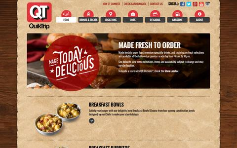 Screenshot of Menu Page quiktrip.com - QuikTrip Corporation > Food > Made Fresh To Order - captured Dec. 5, 2016