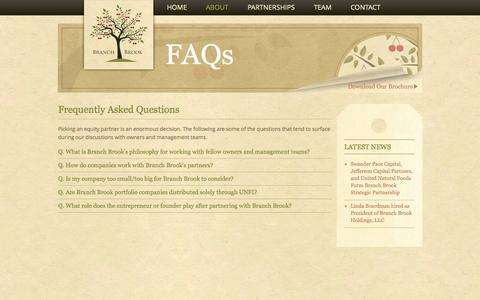 Screenshot of FAQ Page branchbrookllc.com - About: Frequently Asked Questions | Branch Brook Holdings - captured Oct. 5, 2014