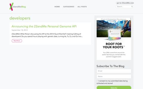 Screenshot of Developers Page 23andme.com - developers Archives - 23andMe Blog - captured May 19, 2018