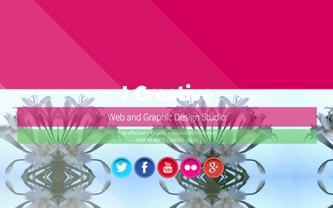 Screenshot of Home Page icreativesite.com - I*Creative | Web & Graphic Design Studio | Cost effective, Quality, Innovative, Creative! - captured Oct. 3, 2014