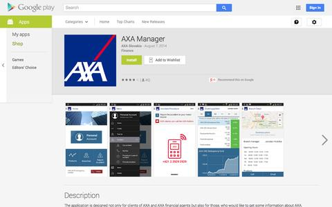 Screenshot of Android App Page google.com - AXA Manager - Android Apps on Google Play - captured Oct. 30, 2014
