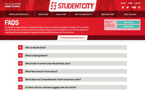 Screenshot of FAQ Page studentcity.com - Frequently Asked Questions | StudentCity - captured July 11, 2017