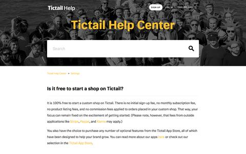 Screenshot of Pricing Page tictail.com - Is it free to start a shop on Tictail?  – Tictail Help Center - captured May 3, 2016