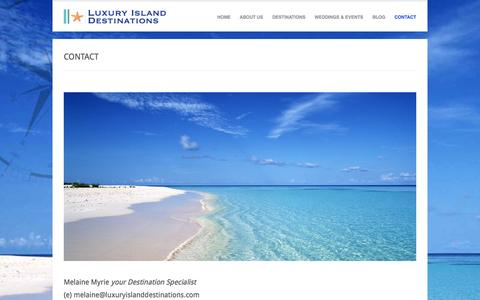 Screenshot of Contact Page luxuryislanddestinations.com - Luxury Island Destinations  » CONTACT - captured Sept. 30, 2014