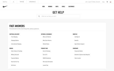 Screenshot of Contact Page nike.com - Nike Customer Service. Get Help With Returns, Ordering & Products. - captured Jan. 14, 2018