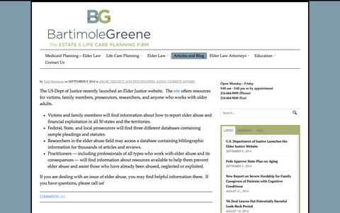 Screenshot of Blog bartimolegreene.com - Blog - The Elder Law and Life Care Planning Attorneys - captured Oct. 5, 2014