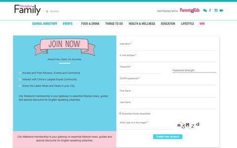 Screenshot of Signup Page shfamily.com - User account | Shanghai Family - captured Oct. 11, 2018