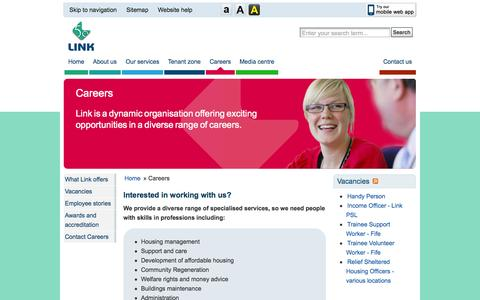 Screenshot of Jobs Page linkhousing.org.uk - Careers | Link Group Limited - captured Oct. 8, 2014
