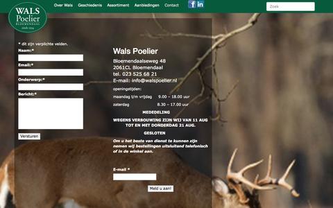 Screenshot of Contact Page walspoelier.nl - Neem contact op met Wals Poelier in Bloemendaal: 023-525 6 821 - captured Oct. 8, 2014