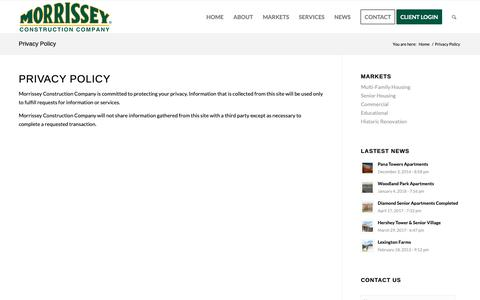 Screenshot of Privacy Page morrisseyconstruction.com - Privacy Policy - Morrissey Construction - captured Dec. 21, 2018