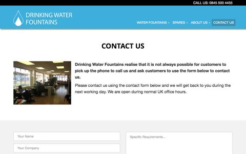 Screenshot of Contact Page drinkingwaterfountains.co.uk - Contact Us | 0330 123 3309 - captured June 5, 2017