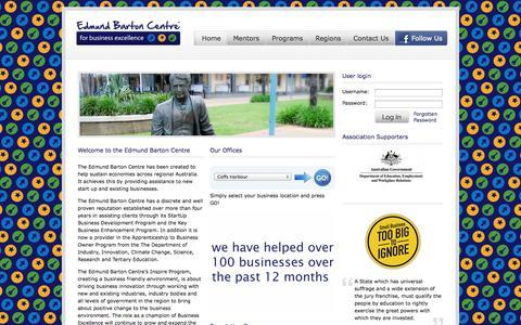 Screenshot of Home Page edmundbartoncentre.com.au - Edmund Barton Centre | for business excellence - captured Oct. 2, 2014