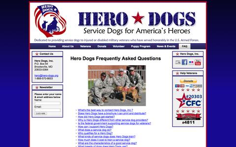 Screenshot of FAQ Page hero-dogs.org - Hero Dogs Questions   Hero Dogs FAQs - captured Oct. 3, 2014