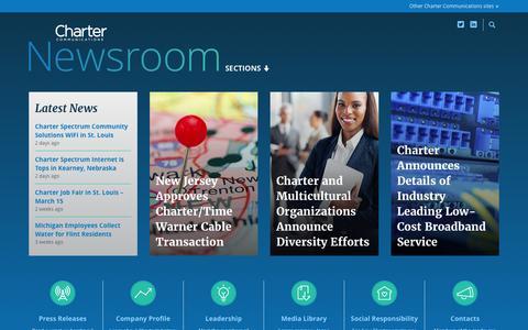 Screenshot of Press Page charter.com - Home | Charter Communications Newsroom - captured March 30, 2016