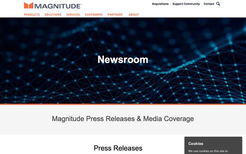 Screenshot of Press Page magnitude.com - Newsroom | Press Releases & Media | Magnitude Software - captured Oct. 3, 2019